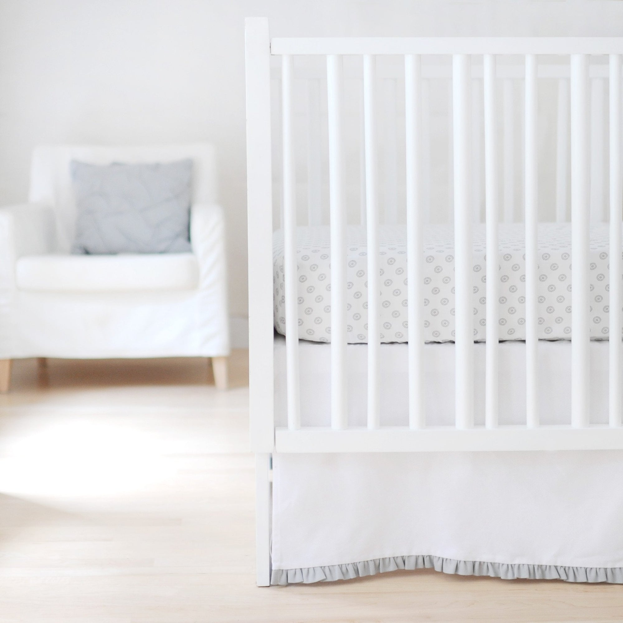 Bumper | Sweet & Simple Seperates - White with Gray Ruffle Crib Baby Bedding Set-Bumper-Default-Jack and Jill Boutique
