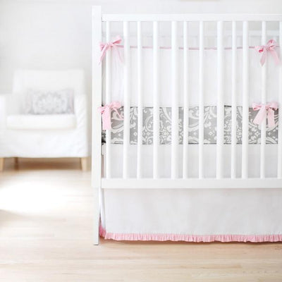 Bumper | Sweet & Simple Seperates - White with Pink Ruffle Crib Baby Bedding Set-Bumper-Default-Jack and Jill Boutique