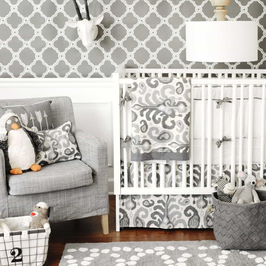 Bumper | Urban Ikat in Gray Crib Baby Bedding Set