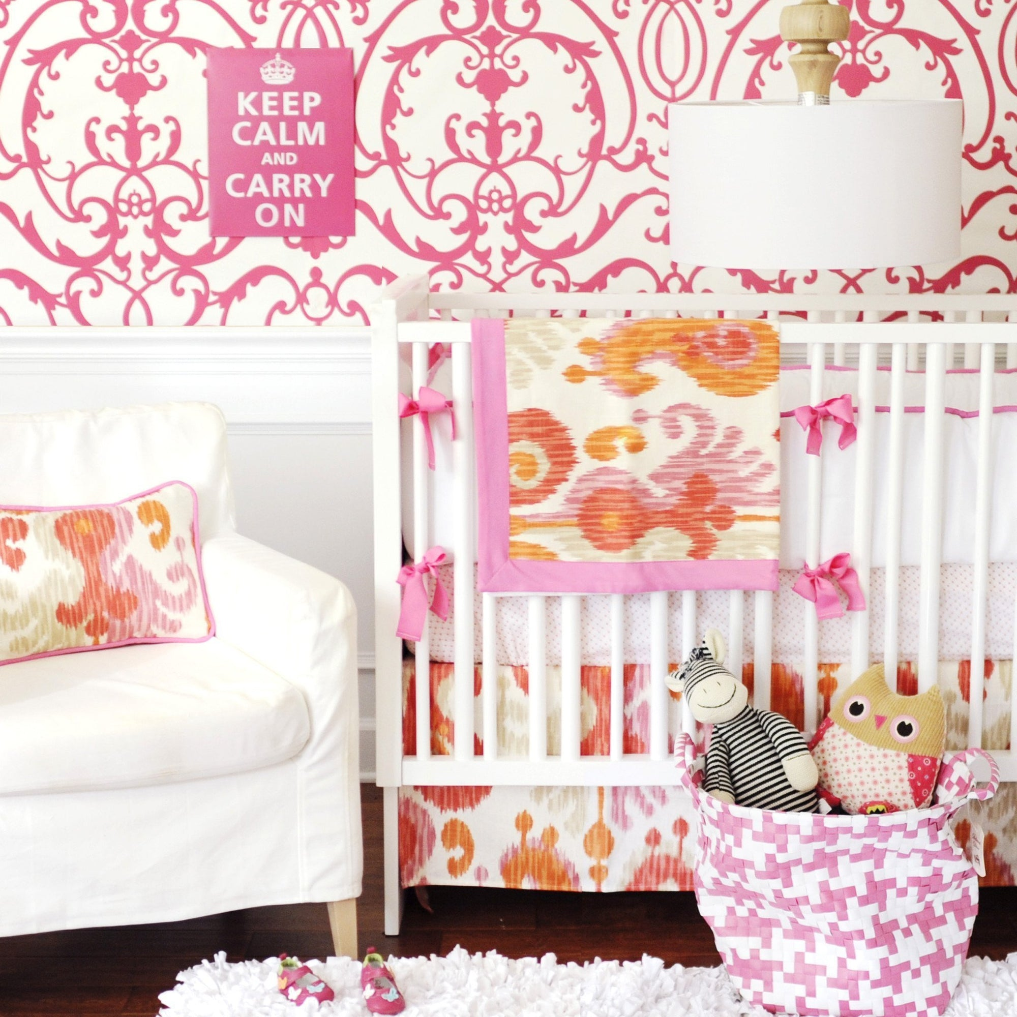 Bumper | Urban Ikat in Pink Crib Baby Bedding Set-Bumper-Default-Jack and Jill Boutique