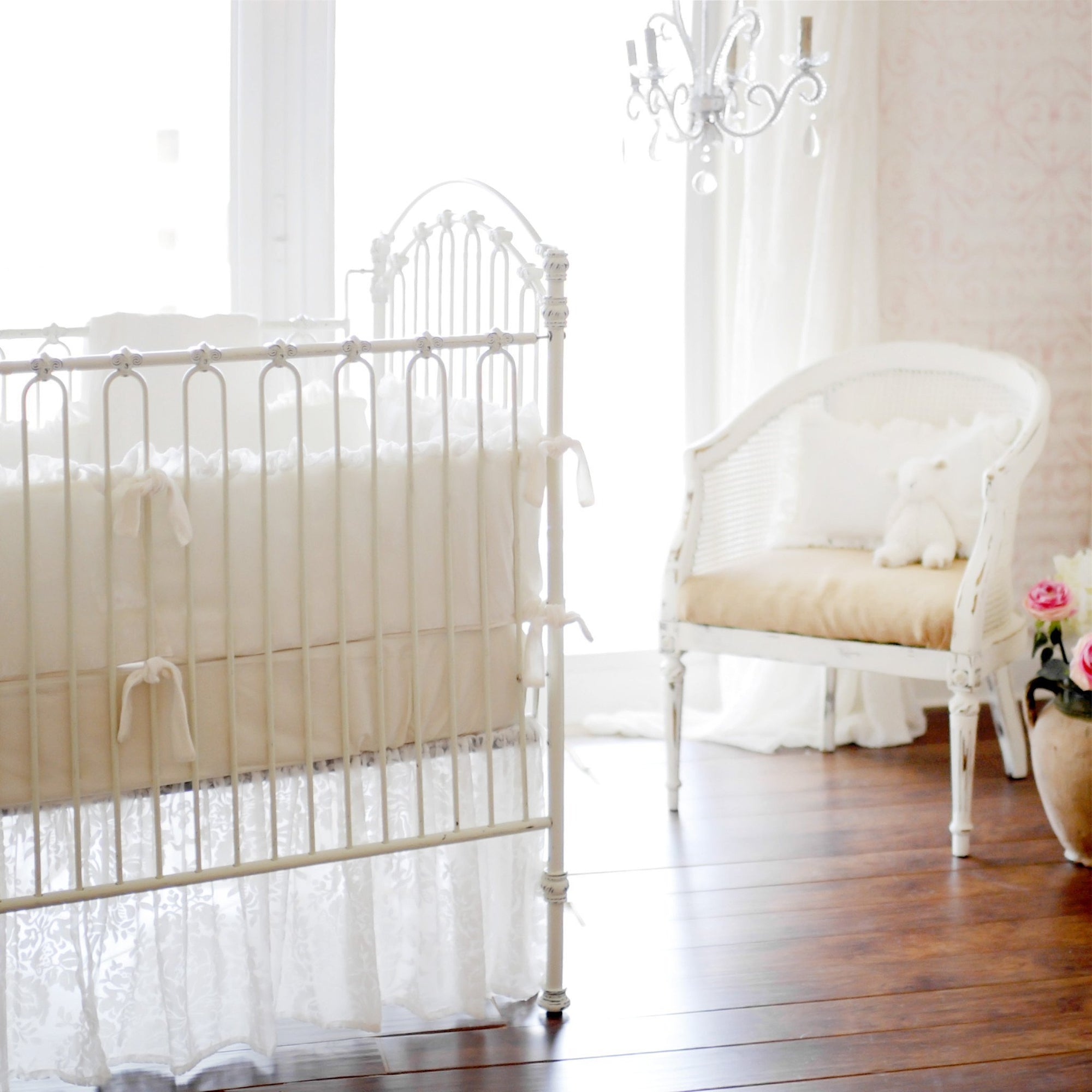 Bumper | Velvet Baby in Ivory Crib Baby Bedding Set-Bumper-Default-Jack and Jill Boutique