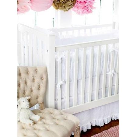 Bumper | White Linen Madison Avenue Crib Baby Bedding Set
