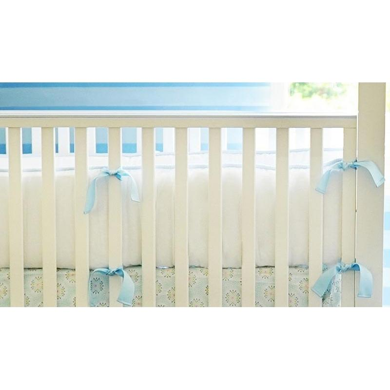 Bumper | White Pique with Blue Trim Crib Baby Bedding Set-Bumper-Default-Jack and Jill Boutique