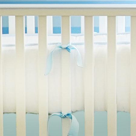 Bumper-Jack and Jill Boutique-Bumper | White Pique with Blue Trim Crib Baby Bedding Set