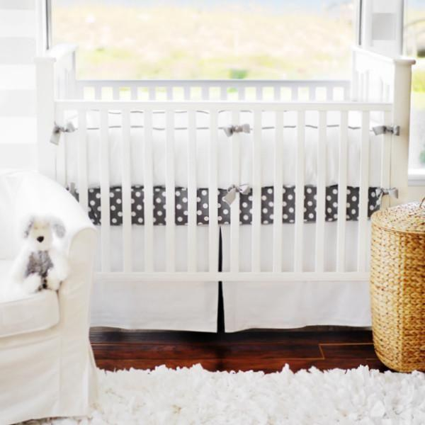 Bumper | White Pique with Gray Trim Crib Baby Bedding Set-Bumper-Default-Jack and Jill Boutique