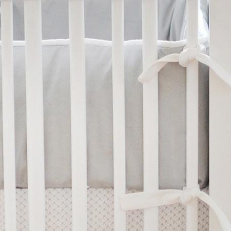 Bumper-Jack and Jill Boutique-Bumper | White Pique with Gray Trim Crib Baby Bedding Set