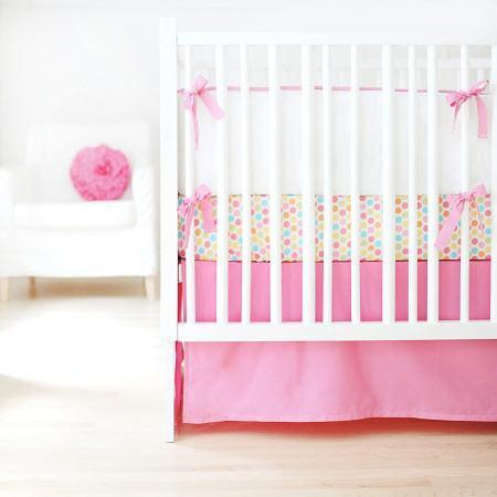 Bumper | White Pique with Hot Pink Trim Crib Baby Bedding Set