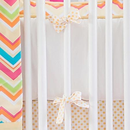 Bumper | Yellow & Pink Chevron Sunnyside Up Crib Baby Bedding Set