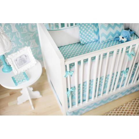 Bumper | Zig Zag Baby in Aqua Crib Baby Bedding Set