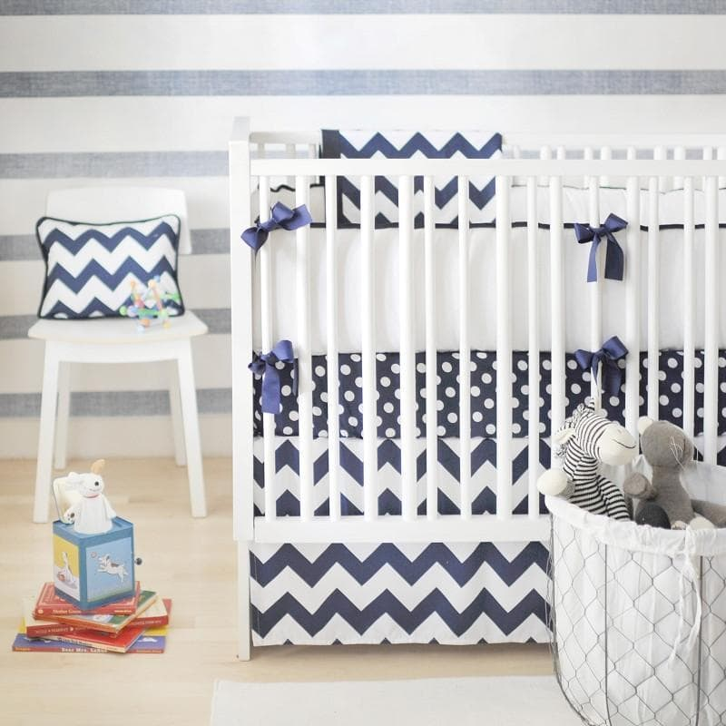 Bumper | Zig Zag Baby in Navy Crib Baby Bedding Set-Bumper-Default-Jack and Jill Boutique