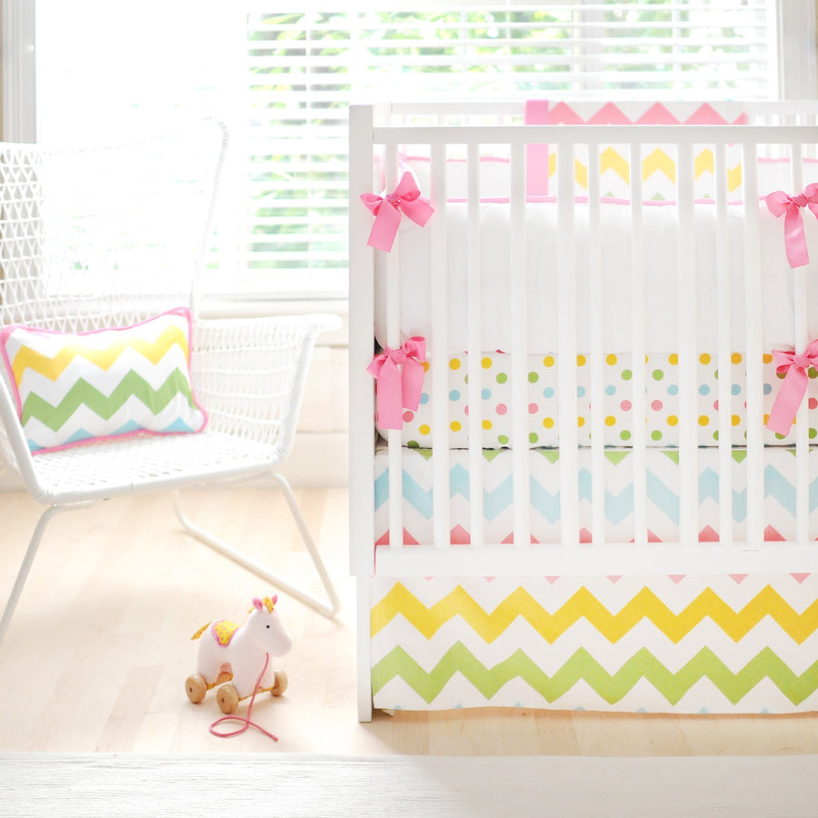 Bumper | Zig Zag Baby in Rainbow Crib Baby Bedding Set