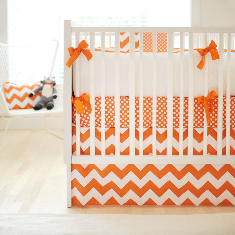 Bumper | Zig Zag Baby in Tangerine Crib Baby Bedding Set