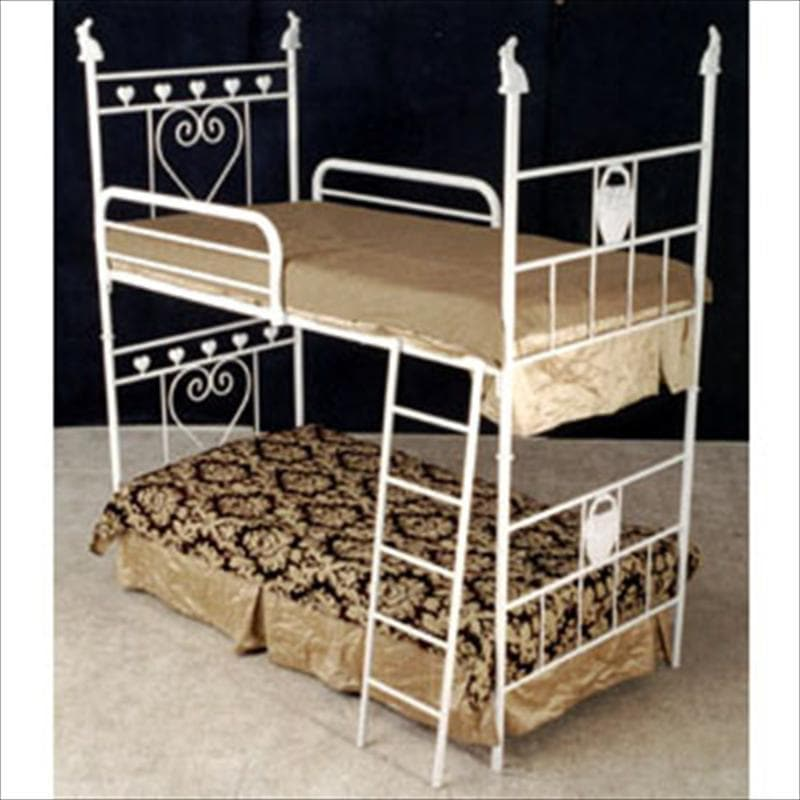 Bunk Bed W/ Hearts and Rabbit-Brass Bed-Default-Jack and Jill Boutique