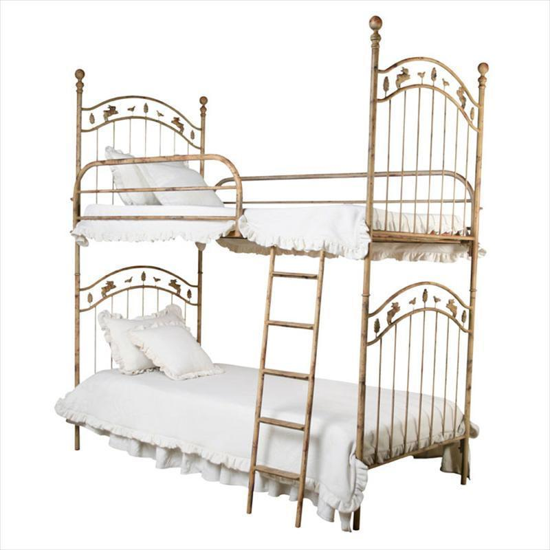 Bunk Beds W/ Leaves, Bunnies and Birds Bunk Bed-Brass Bed-Default-Jack and Jill Boutique