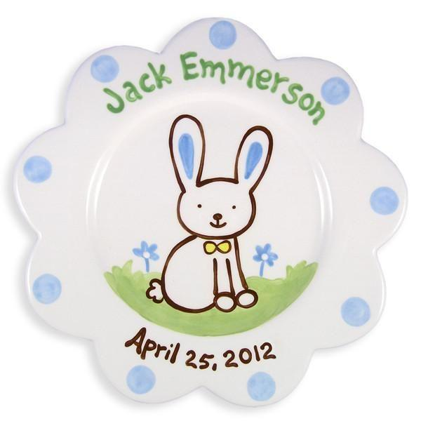 Bunny Boys Hand-Painted Ceramic Plate-Ceramic Plate-Jack and Jill Boutique