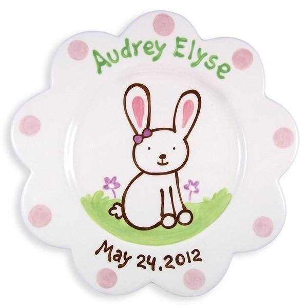 Bunny Girls Hand-Painted Ceramic Plate-Ceramic Plate-Jack and Jill Boutique