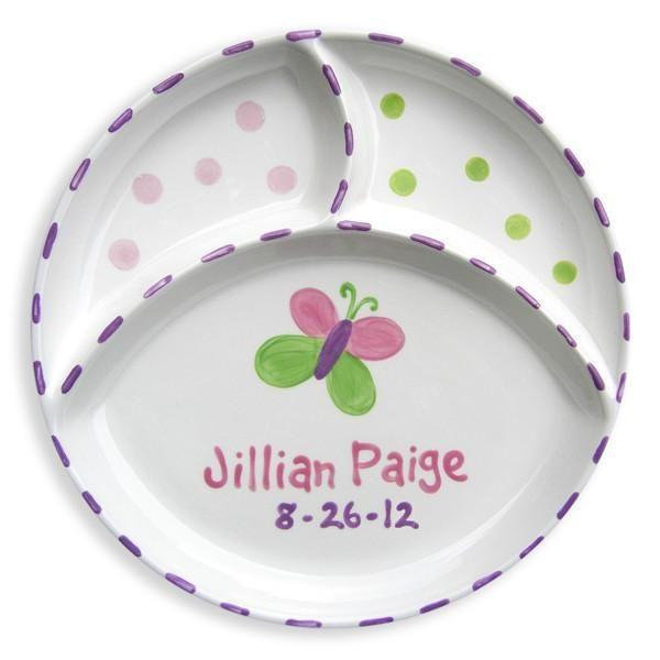 Butterfly Hand-Painted Divided Ceramic Plate-Ceramic Plate-Default-Jack and Jill Boutique