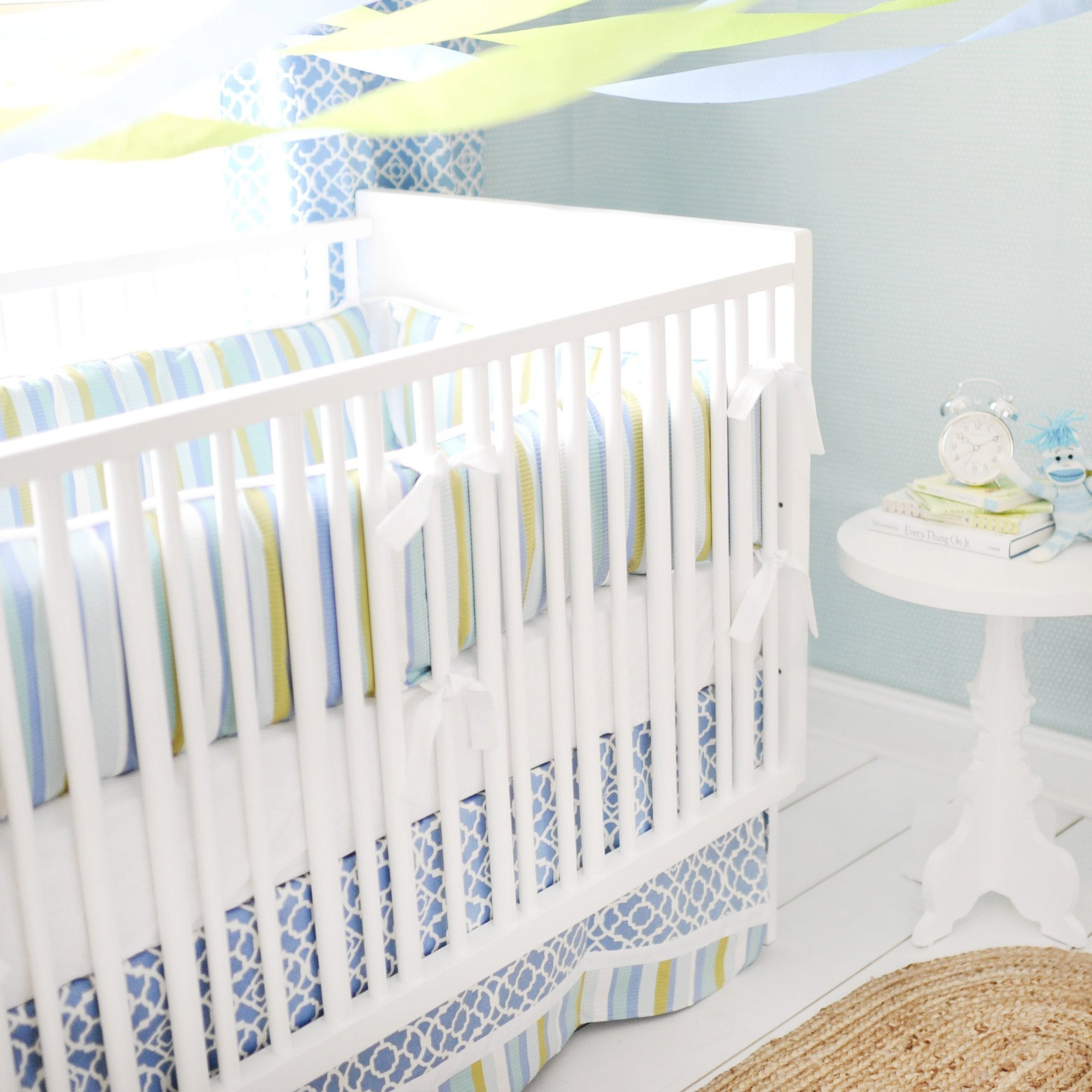 By The Bay Baby Blue White and Green Baby Bedding Set-Crib Bedding Set-Jack and Jill Boutique