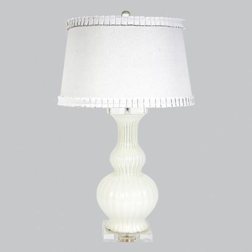 Calabaza White Opaque Lamp-Table Lamp-Jack and Jill Boutique