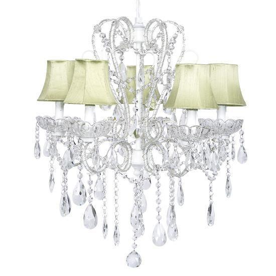 Carousel White Five-Light Chandelier with Green Shades and White Sashes-Chandeliers-Default-Jack and Jill Boutique