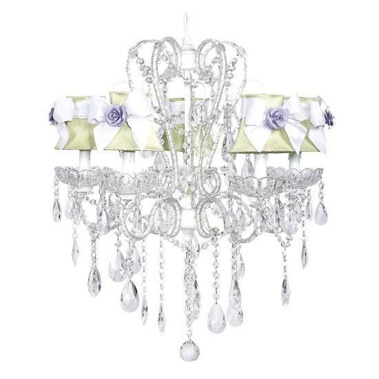 Carousel White Five-Light Chandelier with Green Shades and White Sashes with Purple Roses-Chandeliers-Default-Jack and Jill Boutique