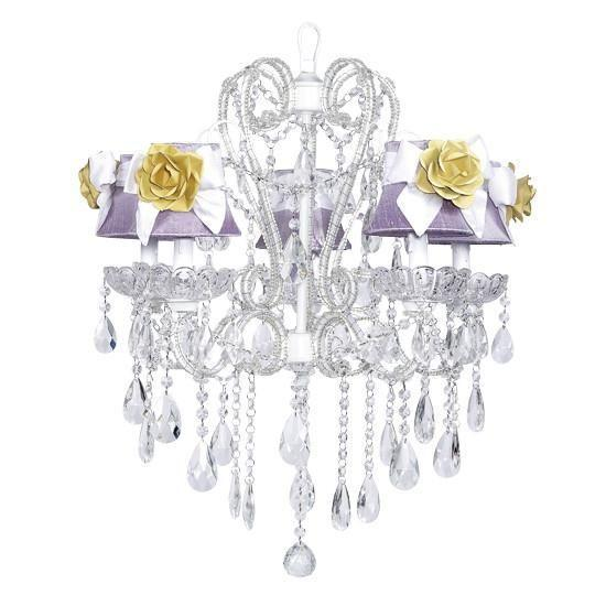 Carousel White Five-Light Chandelier with Lavender Shades and White Sashes and Yellow Roses-Chandeliers-Default-Jack and Jill Boutique