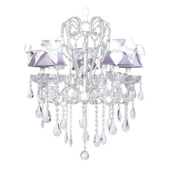 Carousel White Five-Light Chandelier with Lavender Shades and White Sashes-Chandeliers-Default-Jack and Jill Boutique