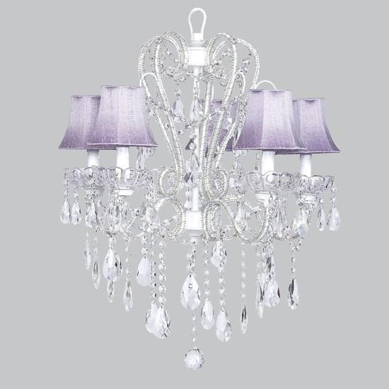 Carousel White Five-Light Chandelier with Lavender Shades-Chandeliers-Default-Jack and Jill Boutique
