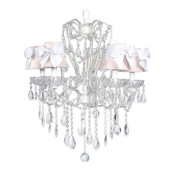 Carousel White Five-Light Chandelier with Pink Shades and White Sashes-Chandeliers-Default-Jack and Jill Boutique
