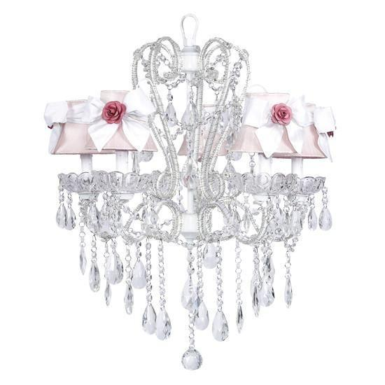 Carousel White Five-Light Chandelier with Pink Shades and White Sashes with Pink Roses-Chandeliers-Default-Jack and Jill Boutique