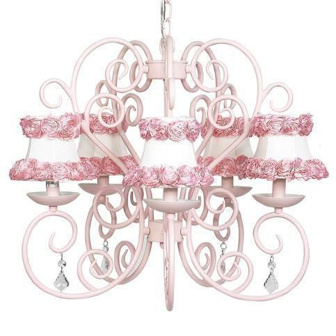 Carriage Pink Five-Light Chandelier with Ring of Roses on white Chandelier Shades