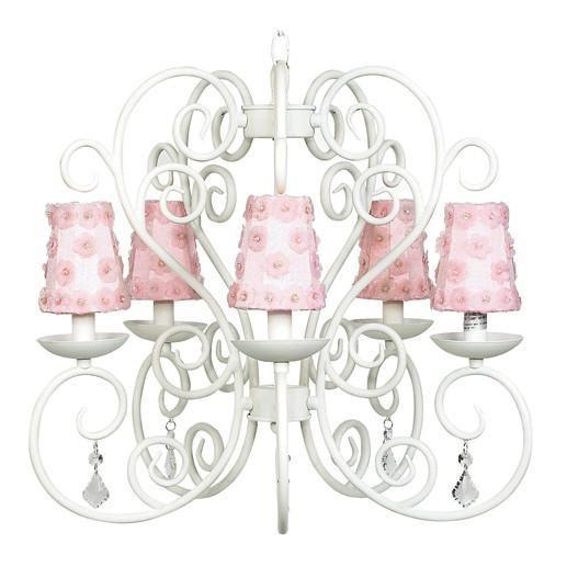 Carriage White Five-Light Chandelier with Petal Flower Pink Chandelier Shades