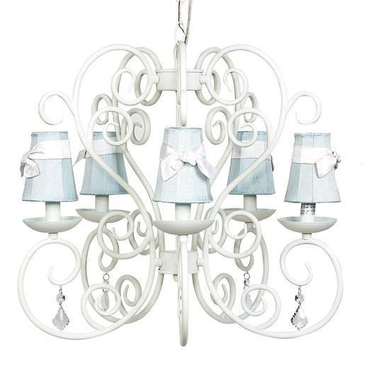 Carriage White Five-Light Chandelier with Plain Blue with Sash Chandelier Shades-Chandeliers-Default-Jack and Jill Boutique