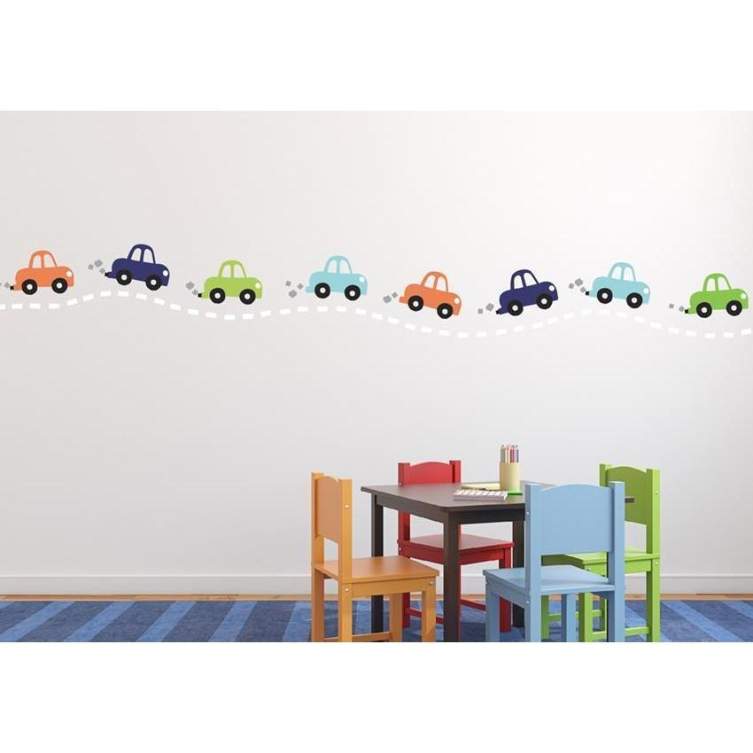 Cars in a Row Fabric Decal-Decals-16 Cars-Jack and Jill Boutique
