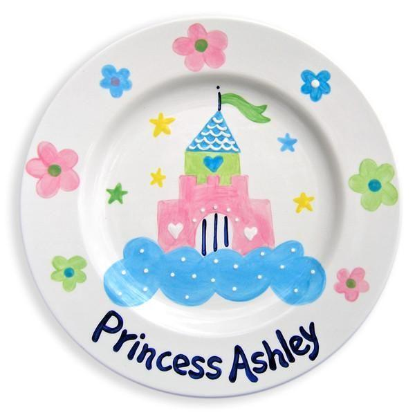 Castle and Flowers Hand-Painted Ceramic Plate-Ceramic Plate-Jack and Jill Boutique