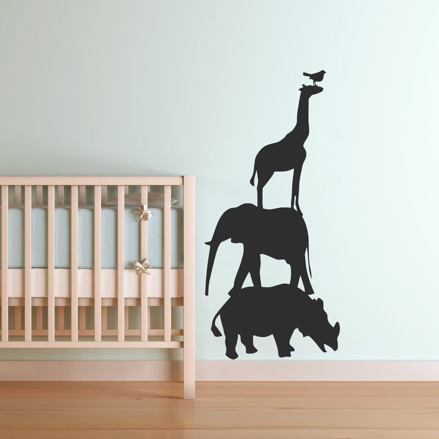 Giraffe and baby silhouette vinyl wall decal