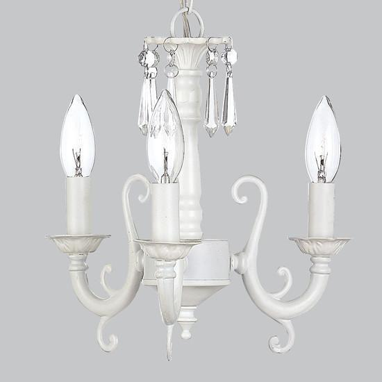 Chandelier - 3-arm Scroll - White-Chandeliers-Default-Jack and Jill Boutique
