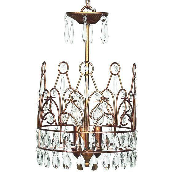 Chandelier - 3-light - Crown - Gold-Chandeliers-Default-Jack and Jill Boutique