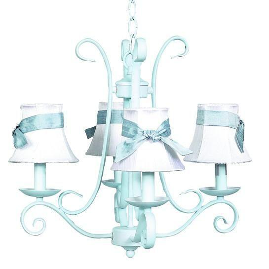 Chandelier - 4-arm - Harp - Baby Blue w/ Chandelier Shade - Plain - White w/ Blue sash-Chandeliers-Default-Jack and Jill Boutique