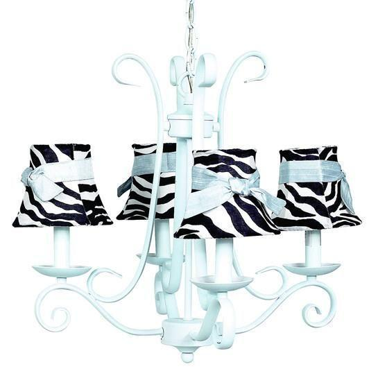 Chandelier - 4-arm - Harp - Baby Blue w/ Chandelier Shade - Zebra Bell w/ Blue sash-Chandeliers-Default-Jack and Jill Boutique