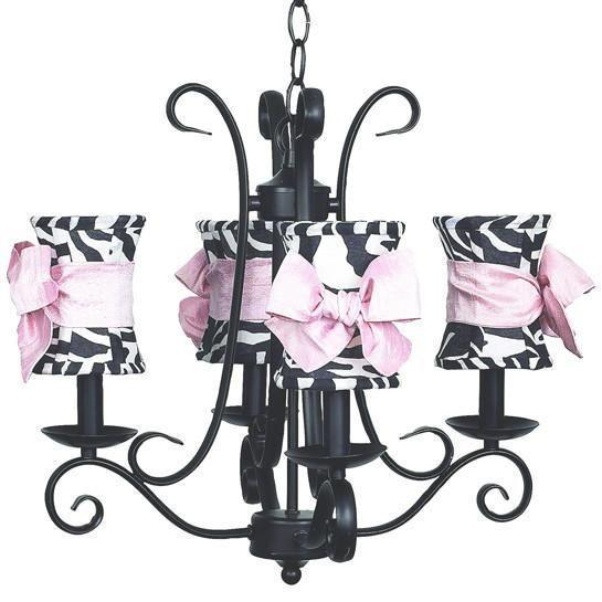 Chandelier - 4-arm - Harp - Black w/ Chandelier Shade - Hourglass - Zebra w/ Pink sash-Chandeliers-Default-Jack and Jill Boutique