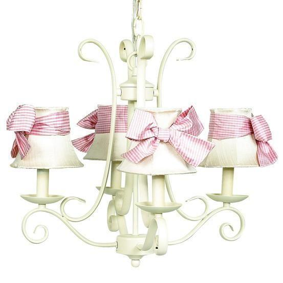 Chandelier - 4-arm - Harp - Ivory w/ Chandelier Shade - Plain - Ivory w/ Pink check sash-Chandeliers-Default-Jack and Jill Boutique