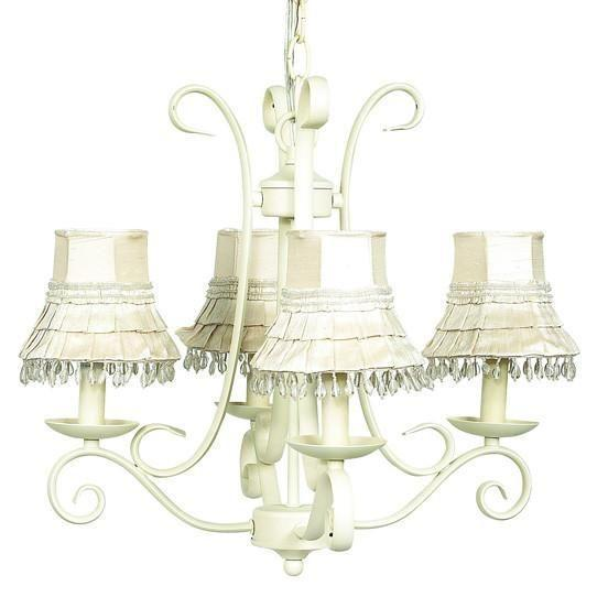 Chandelier - 4-arm - Harp - Ivory w/ Chandelier Shade - Skirt Dangle - Ivory-Chandeliers-Default-Jack and Jill Boutique