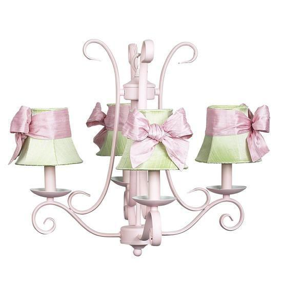 Chandelier - 4-arm - Harp - Pink w/ Chandelier Shade - Plain - Modern Green w/ Pink sash-Chandeliers-Default-Jack and Jill Boutique