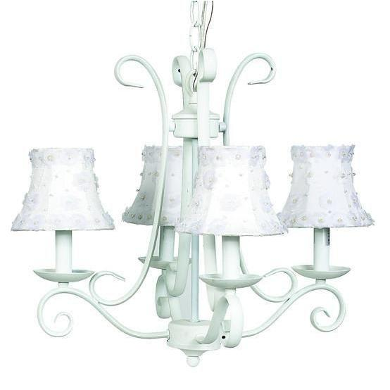 Chandelier - 4-arm - Harp - White w/ Chandelier Shade - Petal Flower -White-Chandeliers-Default-Jack and Jill Boutique