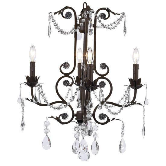 Chandelier - 4-arm - Valentino - mocha-Chandeliers-Default-Jack and Jill Boutique