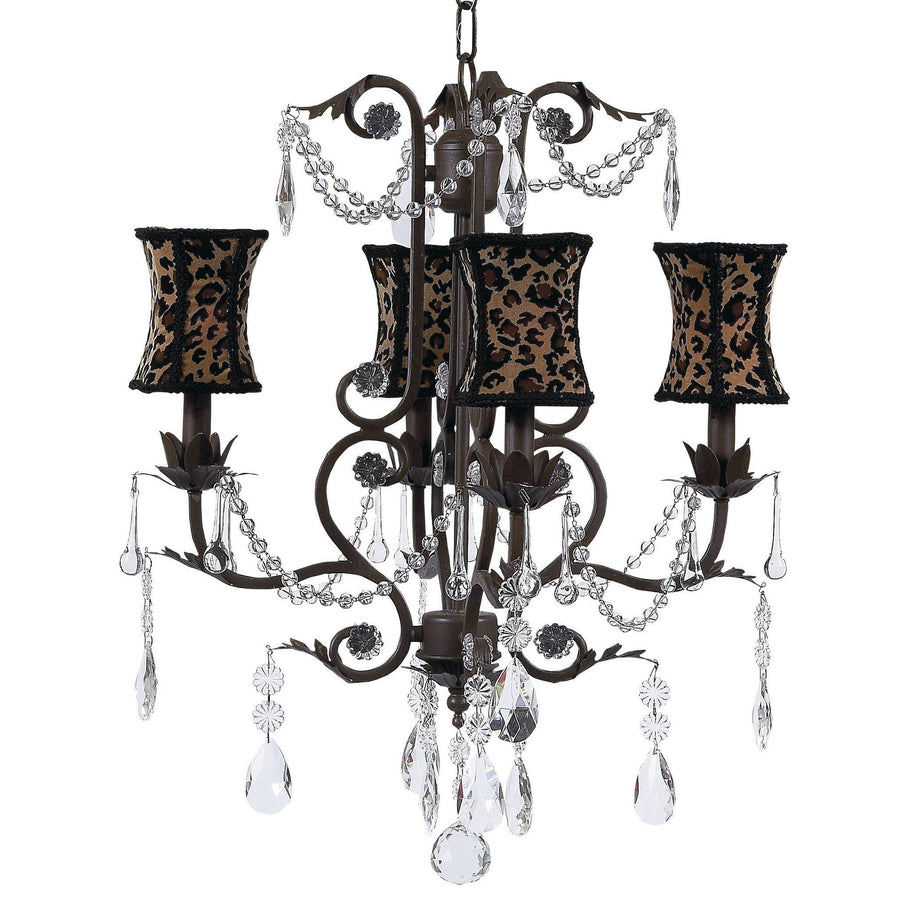 Chandelier - 4-arm - Valentino - mocha w/ Chandelier Shade - Hourglass - Leopard-Chandeliers-Default-Jack and Jill Boutique