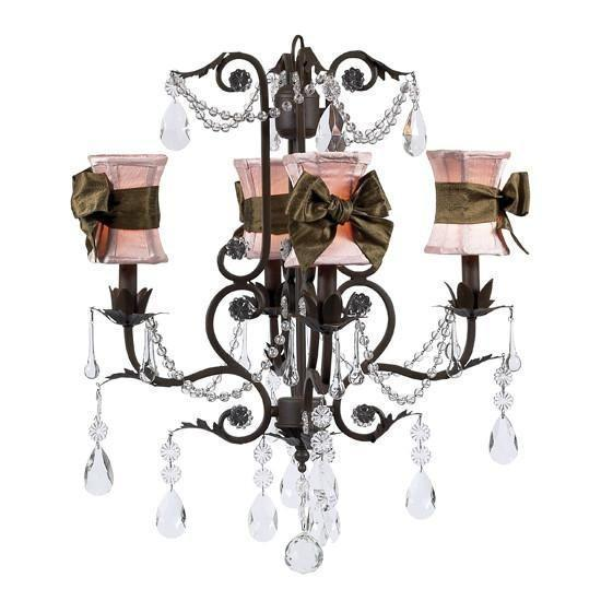 Chandelier - 4-arm - Valentino - mocha w/ Chandelier Shade - Hourglass - Pink w/ Brown sash-Chandeliers-Default-Jack and Jill Boutique