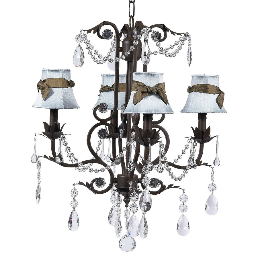 Chandelier - 4-arm - Valentino - mocha w/ Chandelier Shade - Plain - Blue w/ Brown sash-Chandeliers-Default-Jack and Jill Boutique