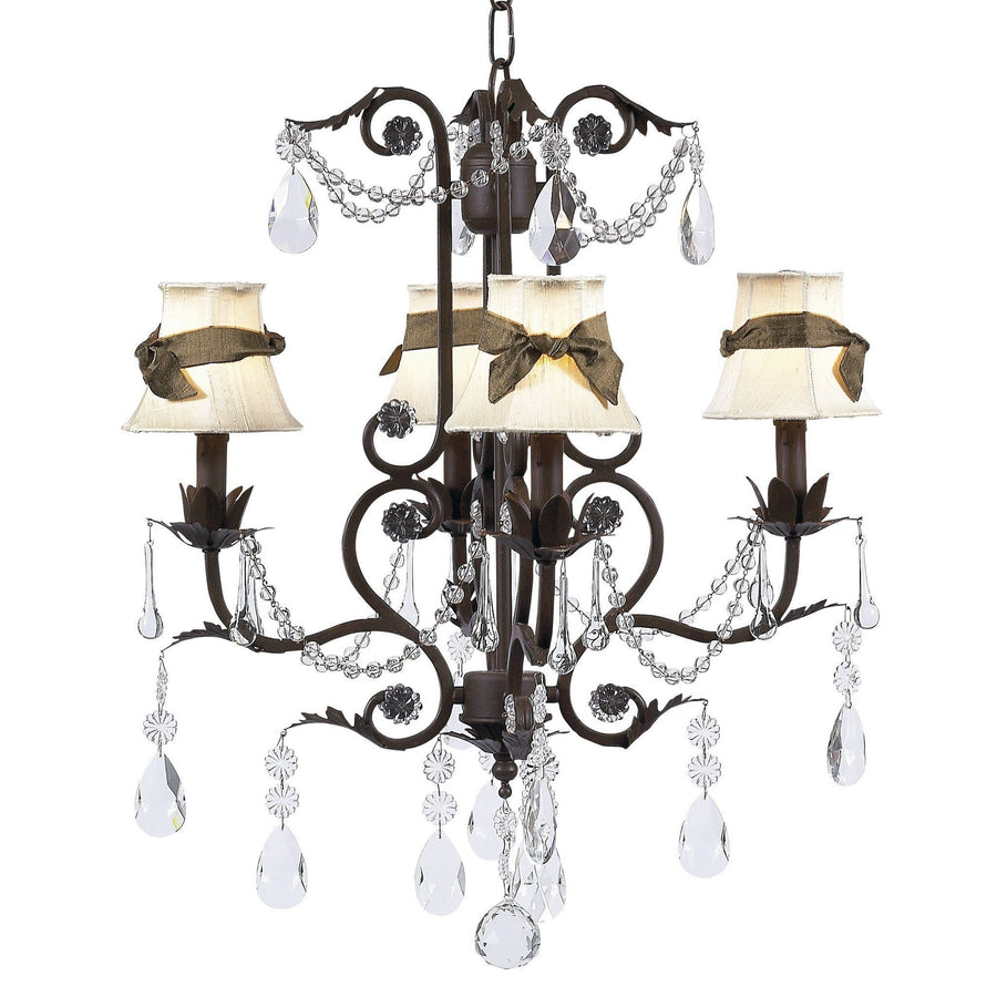 Chandelier - 4-arm - Valentino - mocha w/ Chandelier Shade - Plain - Ivory w/ Brown sash-Chandeliers-Default-Jack and Jill Boutique
